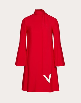 Valentino Double-faced Viscose Dress With V Detailing Women Red/ivory Viscose 100% 38