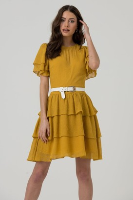 LIENA Mustard Layered & Tiered Mini Dress