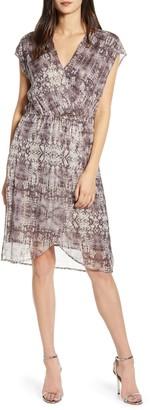 Velvet by Graham & Spencer Lurex Print Faux Wrap Dress