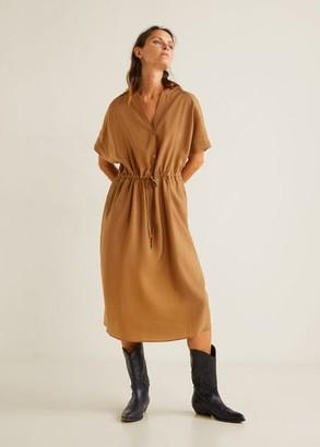 MANGO Bow soft dress russet - 4 - Women