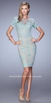 La Femme Short Sleeve Romantic Lace Cocktail Dress