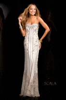 Scala 48685 Encrusted Long Prom Dress