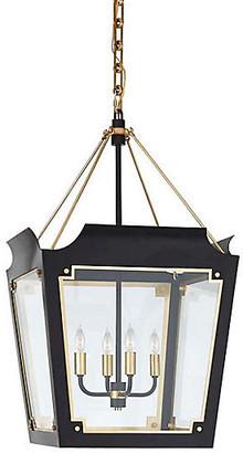 Julie Neill For Visual Comfort Caddo Lantern - Matte Black With Gild