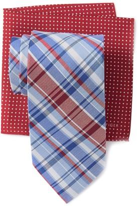Tommy Hilfiger Multi Plaid Tie & Dot Pocket Square Set