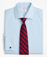Brooks Brothers Stretch Madison Classic-Fit Dress Shirt, Non-Iron Poplin English Collar French Cuff Gingham