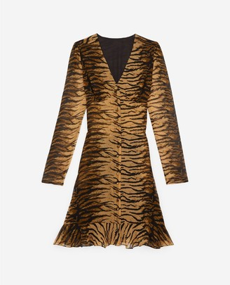 The Kooples Buttoned short rock-style dress w/tiger print