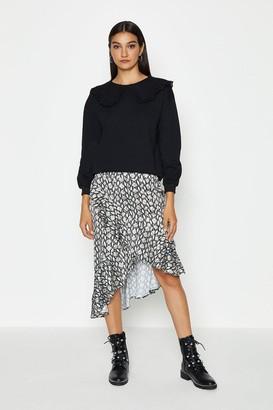 Coast Print Wrap Ruffle Front Skirt
