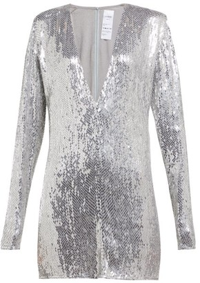 Ashish Sequinned Plunge-neck Mini Dress - Silver
