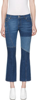 Alexander McQueen Blue Flared Patchwork Jeans