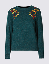 Per Una Embroidered Round Neck Long Sleeve Jumper