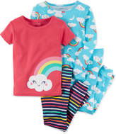 Carter's 4-Pc. Rainbow-Print Cotton Pajama Set, Baby Girls