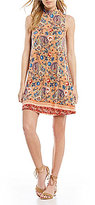 Angie Paisley Printed Mock Neck Swing Dress