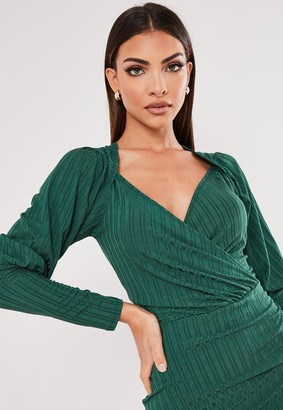 Missguided Recycled Petite Green Ribbed Wrap Midi Dress