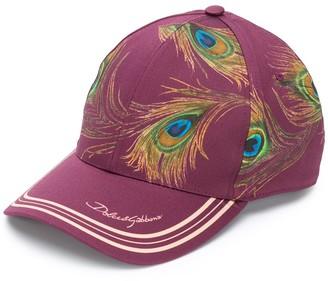 Dolce & Gabbana Peacock-Print Cap