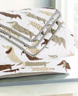 Tadpoles Sleeping Partners Dachshund Dog Pompom Trimmed Quilt and Pillow Sham, 2 Piece Set