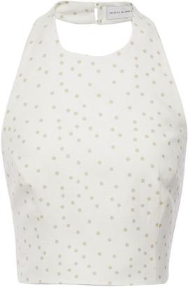 Rebecca Vallance Holliday Cropped Polka-dot Linen-blend Halterneck Top