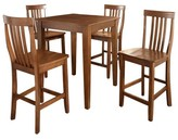 Crosley 5 Piece Pub Dining Set with Tapered Leg and School House Stools