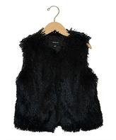 Takara Black Faux Fur Vest - Girls
