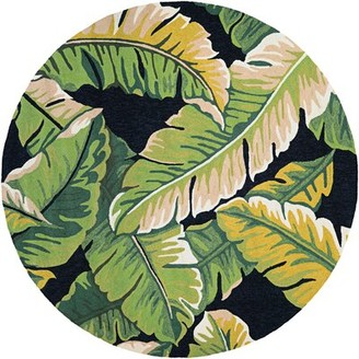 "Green & Black Bay Isle Home Wildermuth Rainforest Forest Hand-Hooked Green/Black Area Rug Bay Isle Home Rug Size: Round 7'10"""