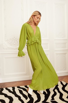 Nasty Gal Womens Frill in Love V-Neck Maxi Dress - Green - 14