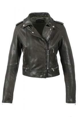 Oakwood Dark Khaki Kyoto Washed Look Leather Jacket - 16