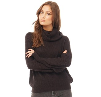 Brave Soul Womens Harriton Cowl Neck Knitted Jumper Black
