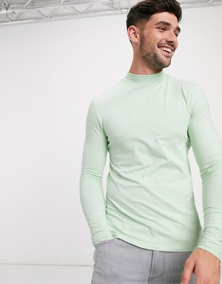 ASOS DESIGN muscle fit long sleeve turtleneck t-shirt in green