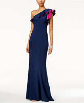 Xscape Evenings Ruffled One-Shoulder Gown
