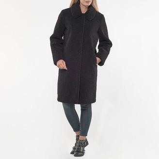 Le Temps Des Cerises Long Straight Cut Boucle Coat with Pockets