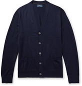 Polo Ralph Lauren Suede Elbow-Patch Merino Wool Cardigan