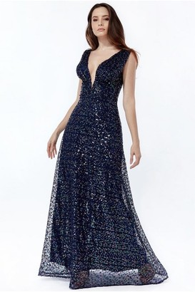 Goddiva Plunge V Neck Sequin Maxi Dress - Navy