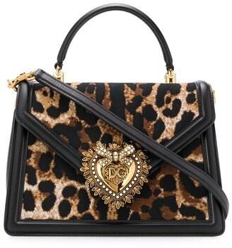 Dolce & Gabbana Devotion leopard print tote