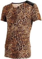 uxcell Allegra K Men Leopard Print V Neck Shoulder PU Panel T-shirt