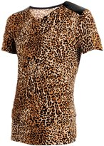 uxcell Allegra K Men Leopard Stretch Pullover Design Fut Tee Coffee L