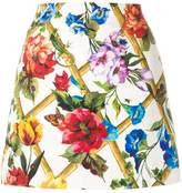 Dolce & Gabbana floral print brocade mini skirt