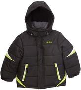 London Fog Black Logo Puffer Coat - Boys