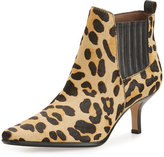 Donald J Pliner Latour Calf-Hair Pointed-Toe Bootie, Black/Leopard