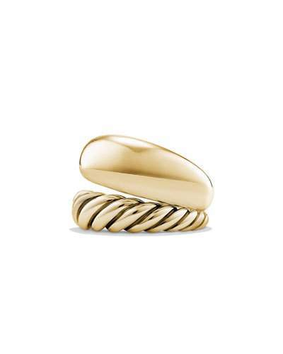 David Yurman 17mm Pure Form Two Row Ring in 18K Gold, Size 6