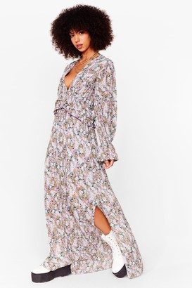 Nasty Gal Womens Pleated Floral Maxi Smock Dress - Lilac