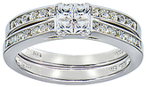 Cubic Zirconia & Sterling Silver Princess-Cut Bridal Ring Set
