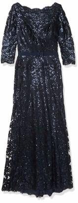Tadashi Shoji Women's Lace Sequins-3/4 SLV-W Belt-Gown