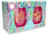 Lilly Pulitzer Catch the Wave Two-Piece Wine Glass Set