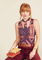 Bold-Faced Tie Tank Top in Floral Borders in 1X