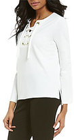 Vince Camuto Lace-Up Crepe Ponte Top