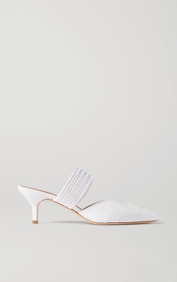 Malone Souliers Maisie Cord-trimmed Croc-effect Leather Mules - White