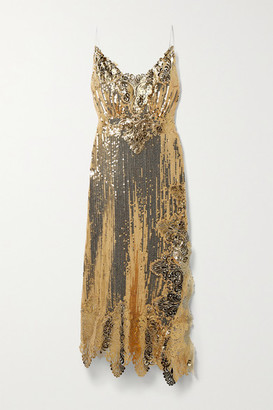 Paco Rabanne Asymmetric Metallic Guipure Lace-trimmed Sequined Georgette Midi Dress - Gold