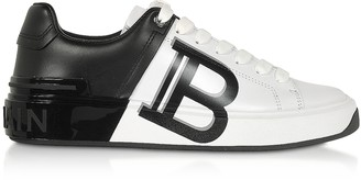 Balmain White & Black Leather Lace up Women's Sneakers