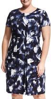 Lafayette 148 New York Short-Sleeve Pleated Jersey Sheath Dress, Plus Size