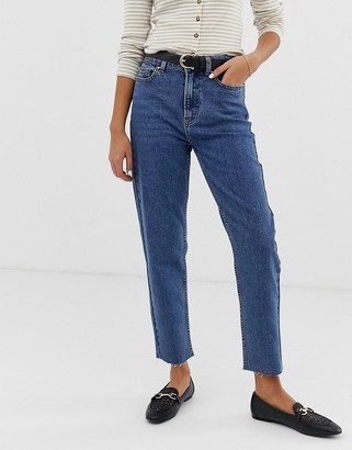 Only high waisted straight leg jeans-Navy