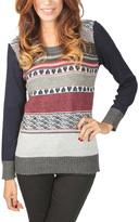 Yuka Paris Navy & Gray Stripe Ribbed Sweater